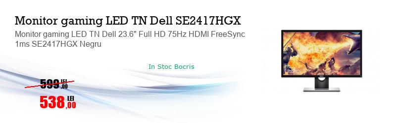 "Monitor gaming LED TN Dell 23.6"" Full HD 75Hz HDMI FreeSync 1ms SE2417HGX Negru"
