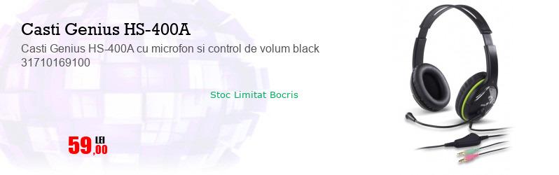 Casti Genius HS-400A cu microfon si control de volum black 31710169100