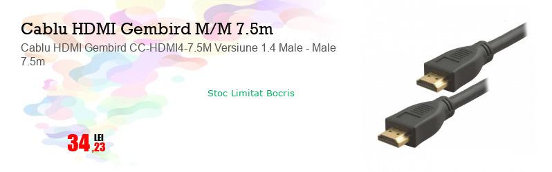 Cablu HDMI Gembird CC-HDMI4-7.5M Versiune 1.4 Male - Male 7.5m