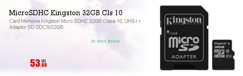 Card Memorie Kingston Micro SDHC 32GB Clasa 10, UHS-I + Adaptor SD SDCS/32GB