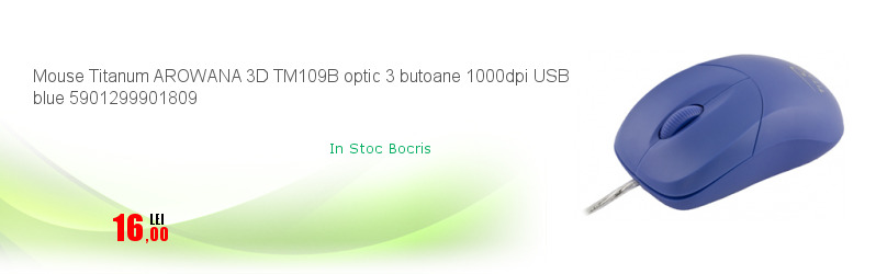 Mouse Titanum AROWANA 3D TM109B optic 3 butoane 1000dpi USB blue 5901299901809