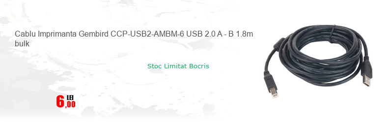 Cablu Imprimanta Gembird CCP-USB2-AMBM-6 USB 2.0 A - B 1.8m bulk