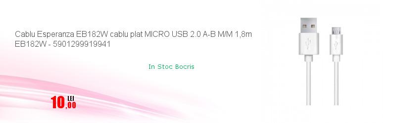 Cablu Esperanza EB182W cablu plat MICRO USB 2.0 A-B M/M 1,8m EB182W - 5901299919941