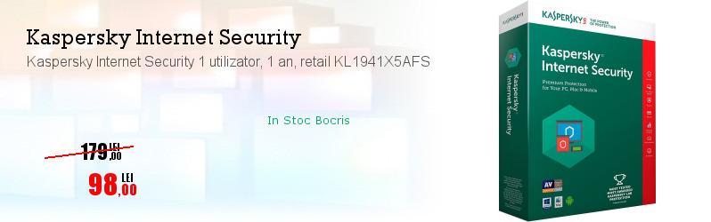 Kaspersky Internet Security 1 utilizator, 1 an, retail KL1941X5AFS