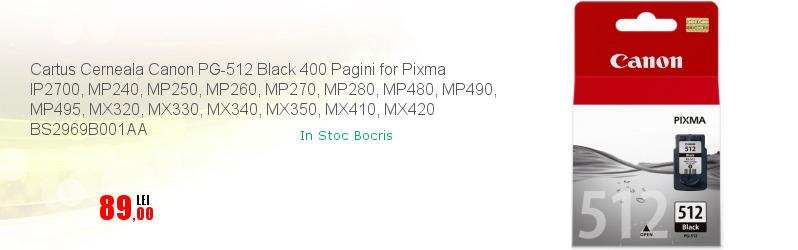 Cartus Cerneala Canon PG-512 Black 400 Pagini for Pixma IP2700, MP240, MP250, MP260, MP270, MP280, MP480, MP490, MP495, MX320, MX330, MX340, MX350, MX410, MX420 BS2969B001AA