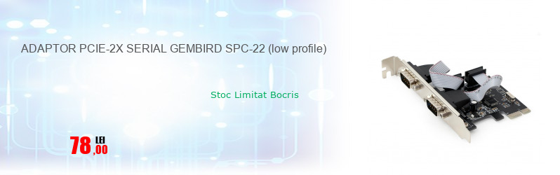 ADAPTOR PCIE-2X SERIAL GEMBIRD SPC-22 (low profile)