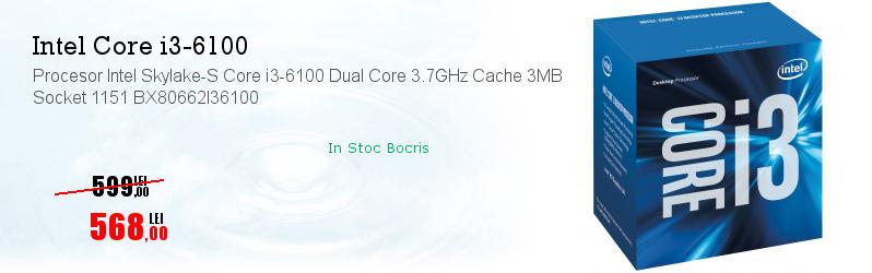 Procesor Intel Skylake-S Core i3-6100 Dual Core 3.7GHz Cache 3MB Socket 1151 BX80662I36100