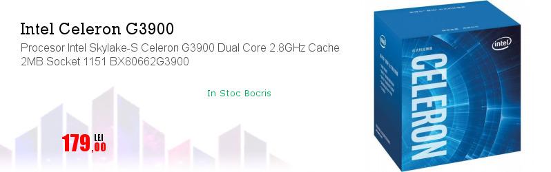 Procesor Intel Skylake-S Celeron G3900 Dual Core 2.8GHz Cache 2MB Socket 1151 BX80662G3900