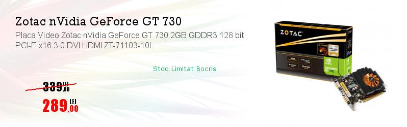 Placa Video Zotac nVidia GeForce GT 730 2GB GDDR3 128 bit PCI-E x16 3.0 DVI HDMI ZT-71103-10L
