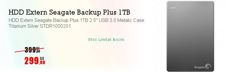 "HDD Extern Seagate Backup Plus 1TB 2.5"" USB 3.0 Metalic Case Titanium Silver STDR1000201"