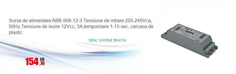 Sursa de alimentare ABK-906-12-3 Tensiune de intrare 200-240Vca, 50Hz,Tensiune de iesire 12Vcc, 3A,temporizare 1-15 sec, carcasa de plastic