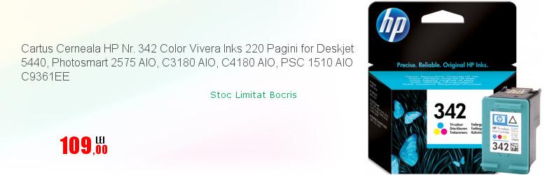 Cartus Cerneala HP Nr. 342 Color Vivera Inks 220 Pagini for Deskjet 5440, Photosmart 2575 AIO, C3180 AIO, C4180 AIO, PSC 1510 AIO C9361EE