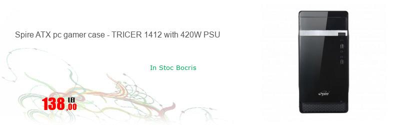 Spire ATX pc gamer case - TRICER 1412 with 420W PSU