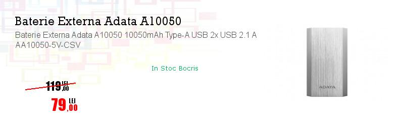 Baterie Externa Adata A10050 10050mAh Type-A USB 2x USB 2.1 A AA10050-5V-CSV