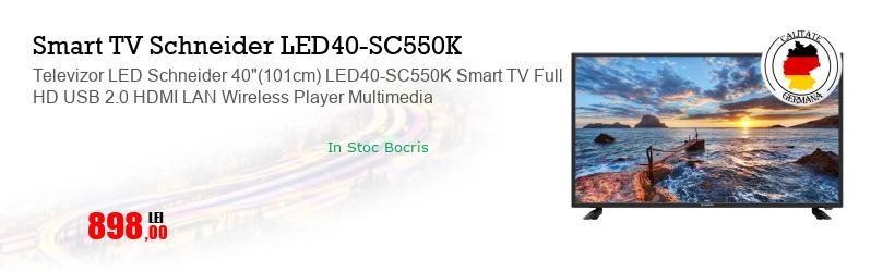 "Televizor LED Schneider 40""(101cm) LED40-SC550K Smart TV Full HD USB 2.0 HDMI LAN Wireless Player Multimedia"