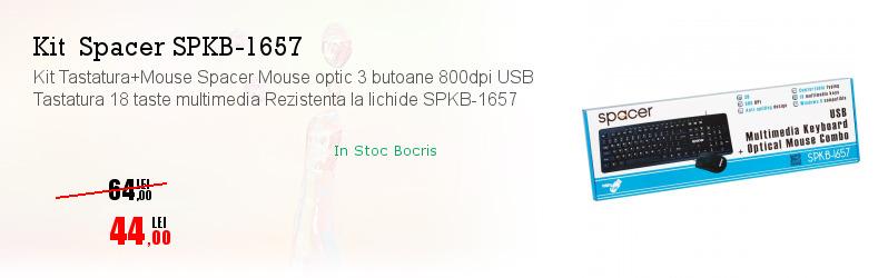 Kit Tastatura+Mouse Spacer Mouse optic 3 butoane 800dpi USB Tastatura 18 taste multimedia Rezistenta la lichide SPKB-1657