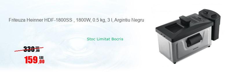 Friteuza Heinner HDF-1800SS , 1800W, 0.5 kg, 3 l, Argintiu Negru