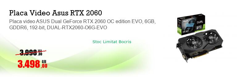 Placa video ASUS Dual GeForce RTX 2060 OC edition EVO, 6GB, GDDR6, 192-bit, DUAL-RTX2060-O6G-EVO