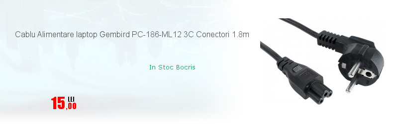Cablu Alimentare laptop Gembird PC-186-ML12 3C Conectori 1.8m