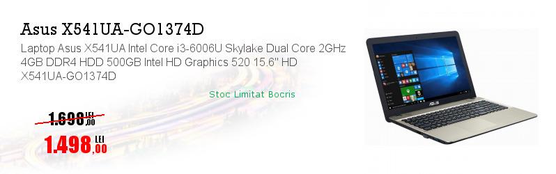 "Laptop Asus X541UA Intel Core i3-6006U Skylake Dual Core 2GHz 4GB DDR4 HDD 500GB Intel HD Graphics 520 15.6"" HD X541UA-GO1374D"