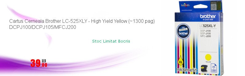 Cartus Cerneala Brother LC-525XLY - High Yield Yellow (~1300 pag) DCPJ100/DCPJ105/MFCJ200