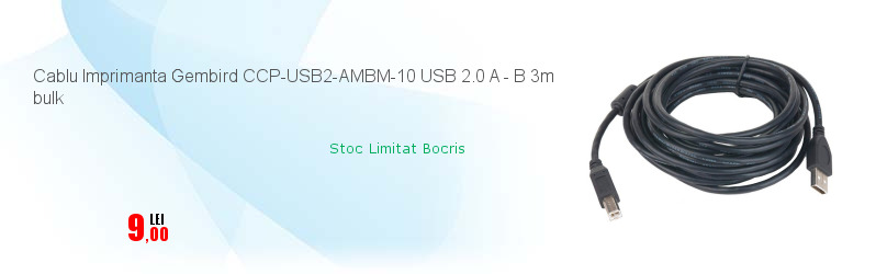 Cablu Imprimanta Gembird CCP-USB2-AMBM-10 USB 2.0 A - B 3m bulk