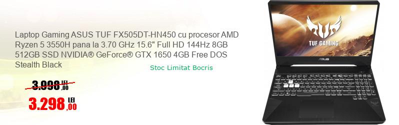 "Laptop Gaming ASUS TUF FX505DT-HN450 cu procesor AMD Ryzen 5 3550H pana la 3.70 GHz 15.6"" Full HD 144Hz 8GB 512GB SSD NVIDIA® GeForce® GTX 1650 4GB Free DOS Stealth Black"