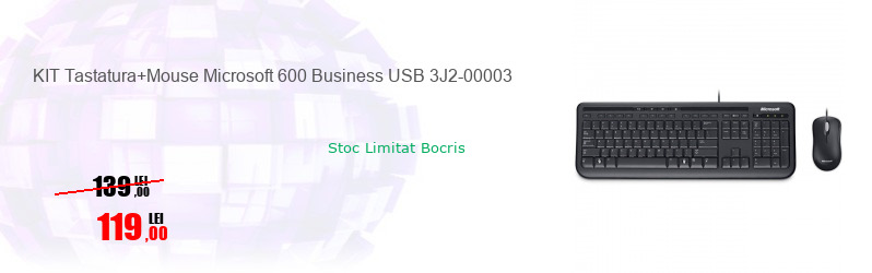 KIT Tastatura+Mouse Microsoft 600 Business USB 3J2-00003