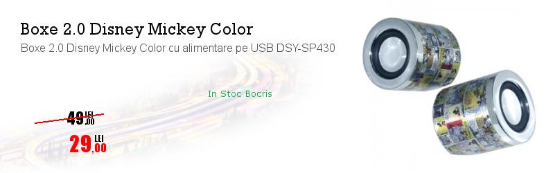 Boxe 2.0 Disney Mickey Color cu alimentare pe USB DSY-SP430