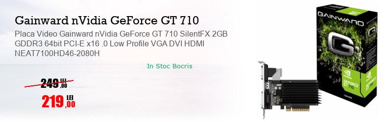 Placa Video Gainward nVidia GeForce GT 710 SilentFX 2GB GDDR3 64bit PCI-E x16 .0 Low Profile VGA DVI HDMI NEAT7100HD46-2080H