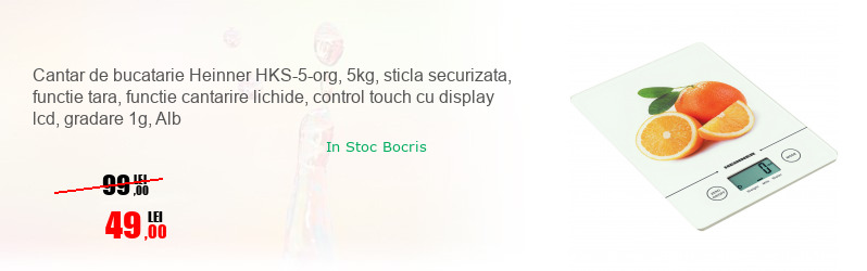 Cantar de bucatarie Heinner HKS-5-org, 5kg, sticla securizata, functie tara, functie cantarire lichide, control touch cu display lcd, gradare 1g, Alb