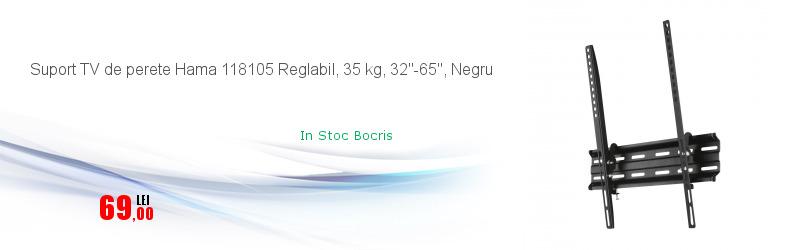 """Suport TV de perete Hama 118105 Reglabil, 35 kg, 32""""-65"""", Negru"""