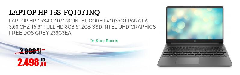"LAPTOP HP 15S-FQ1071NQ INTEL CORE I5-1035G1 PANA LA 3.60 GHZ 15.6"" FULL HD 8GB 512GB SSD INTEL UHD GRAPHICS FREE DOS GREY 239C3EA"