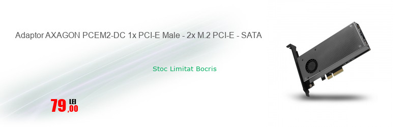 Adaptor AXAGON PCEM2-DC 1x PCI-E Male - 2x M.2 PCI-E - SATA