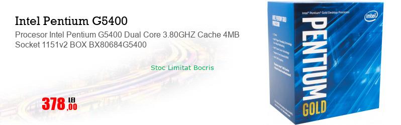 Procesor Intel Pentium G5400 Dual Core 3.80GHZ Cache 4MB Socket 1151v2 BOX BX80684G5400