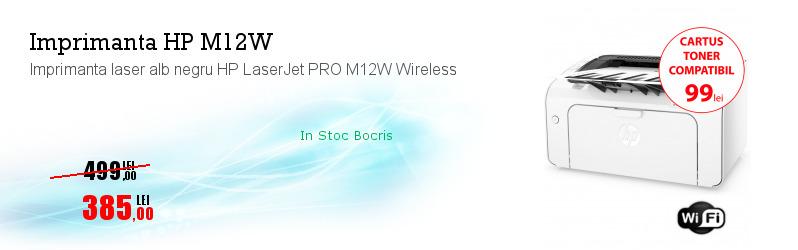Imprimanta laser alb negru HP LaserJet PRO M12W Wireless