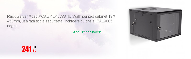 "Rack Server Xcab XCAB-4U45WS 4U Wallmounted cabinet 19""/ 450mm, usa fata sticla securizata, inchidere cu cheie, RAL9005 negru"