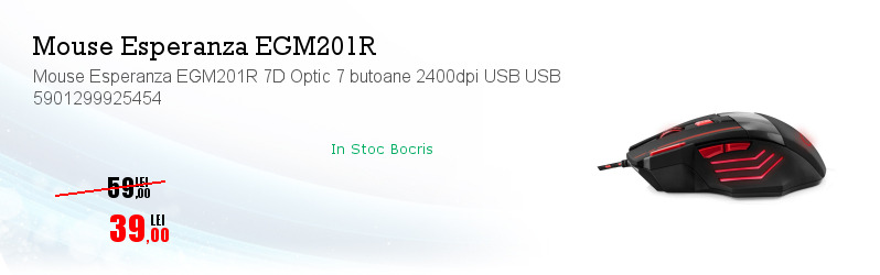 Mouse Esperanza EGM201R 7D Optic 7 butoane 2400dpi USB USB 5901299925454