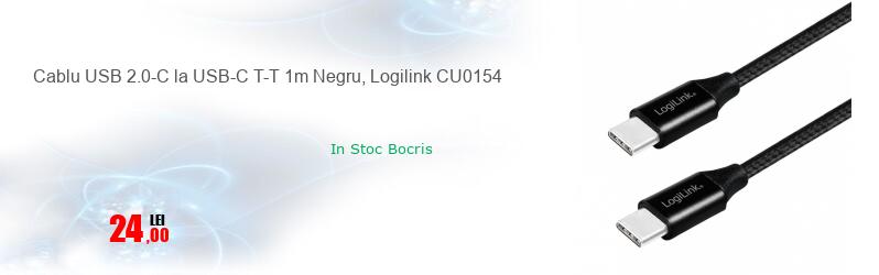 Cablu USB 2.0-C la USB-C T-T 1m Negru, Logilink CU0154