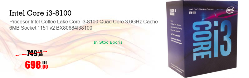 Procesor Intel Coffee Lake Core i3-8100 Quad Core 3.6GHz Cache 6MB Socket 1151 v2 BX80684I38100