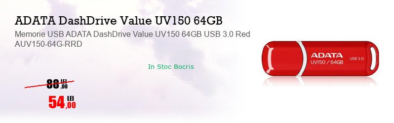 Memorie USB ADATA DashDrive Value UV150 64GB USB 3.0 Red AUV150-64G-RRD