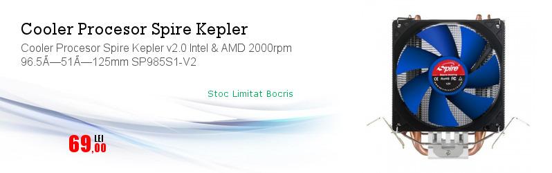 Cooler Procesor Spire Kepler v2.0 Intel & AMD 2000rpm 96.5×51×125mm SP985S1-V2