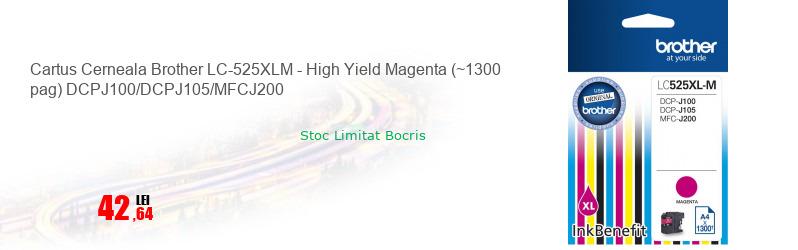 Cartus Cerneala Brother LC-525XLM - High Yield Magenta (~1300 pag) DCPJ100/DCPJ105/MFCJ200
