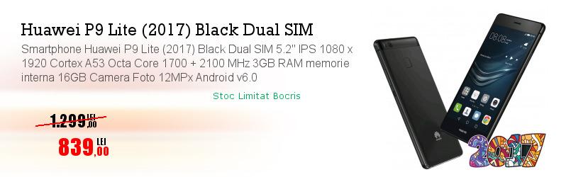 "Smartphone Huawei P9 Lite (2017) Black Dual SIM 5.2"" IPS 1080 x 1920 Cortex A53 Octa Core 1700 + 2100 MHz 3GB RAM memorie interna 16GB Camera Foto 12MPx Android v6.0"