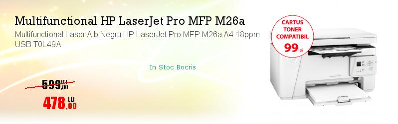 Multifunctional Laser Alb Negru HP LaserJet Pro MFP M26a A4 18ppm USB T0L49A