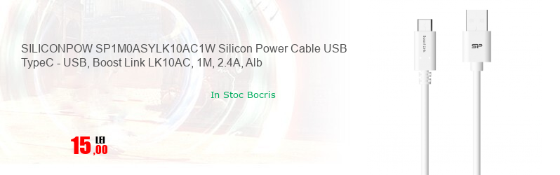 SILICONPOW SP1M0ASYLK10AC1W Silicon Power Cable USB TypeC - USB, Boost Link LK10AC, 1M, 2.4A, Alb