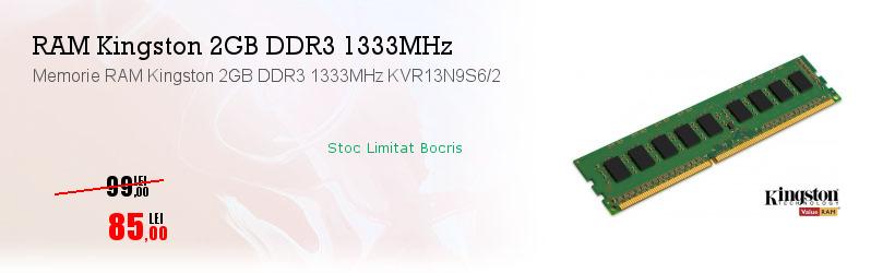 Memorie RAM Kingston 2GB DDR3 1333MHz KVR13N9S6/2