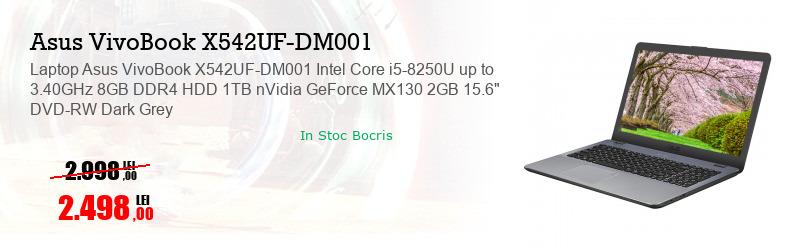 "Laptop Asus VivoBook X542UF-DM001 Intel Core i5-8250U up to 3.40GHz 8GB DDR4 HDD 1TB nVidia GeForce MX130 2GB 15.6"" DVD-RW Dark Grey"