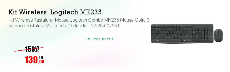 Kit Wireless Tastatura+Mouse Logitech Combo MK235 Mouse Optic 3 butoane Tastatura Multimedia 15 functii FN 920-007931