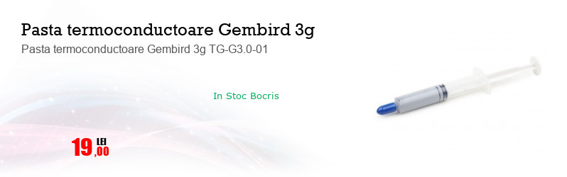 Pasta termoconductoare Gembird 3g TG-G3.0-01